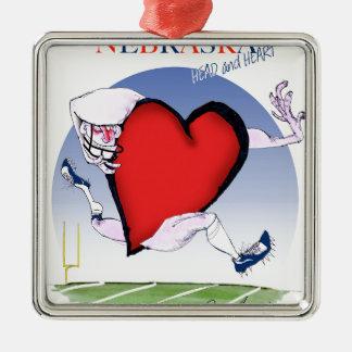 nebraska head heart, tony fernandes Silver-Colored square decoration