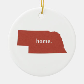 Nebraska Home State Red Christmas Ornament