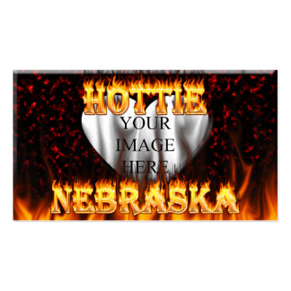 Nebraska Hottie fire and red marble heart. Pack Of Standard Business Cards