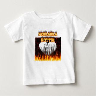 Nebraska Hottie fire and red marble heart. T-shirt
