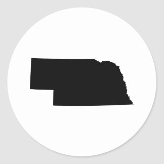Nebraska in Black Classic Round Sticker