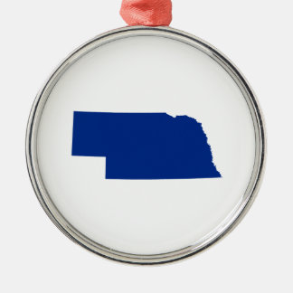 Nebraska in Blue Christmas Ornament