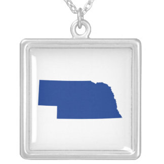 Nebraska in Blue Silver Plated Necklace