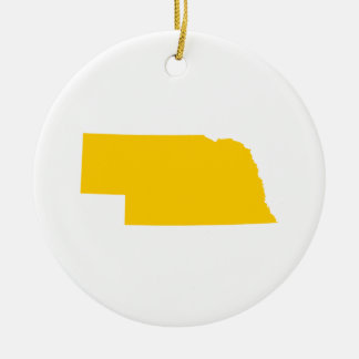Nebraska in Gold Christmas Ornament