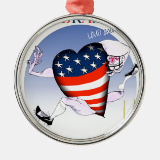 nebraska loud and proud, tony fernandes Silver-Colored round decoration
