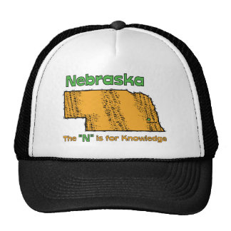 """Nebraska NB US Motto ~ The """"N"""" is for Knowledge Hats"""