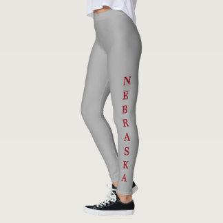 Nebraska Red Lettering Gray Leggings