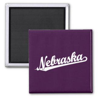 Nebraska script logo in white fridge magnets