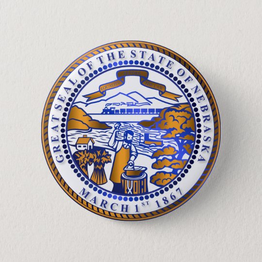 Nebraska seal 6 cm round badge