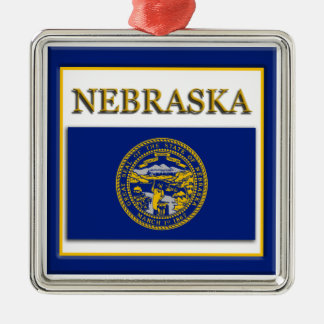 Nebraska State Flag Christmas Ornament