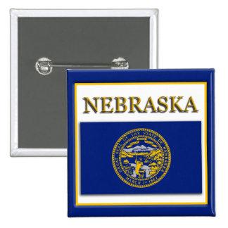 Nebraska State Flag Design Button