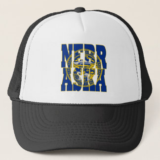 Nebraska state flag text trucker hat