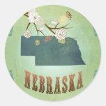 Nebraska State Map – Green Round Stickers