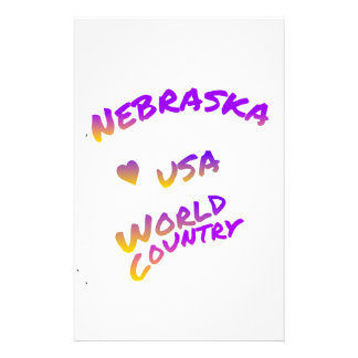 Nebraska USA world country, colorful text art Custom Stationery