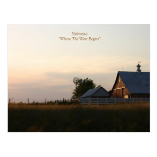 "Nebraska""Where The West Begins"" Postcard"