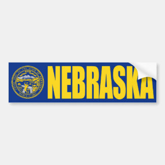 Nebraska with State Flag Bumper Sticker
