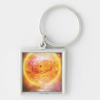 Nebula Burning Brightly Silver-Colored Square Key Ring