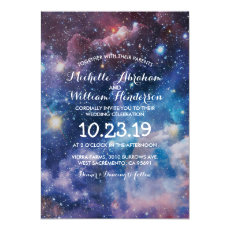 Nebula Cosmic Space Galaxy Colourful Wedding Invitation
