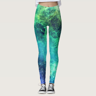 Nebula Green Blue Flames space Leggings