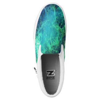 Nebula Green Blue Flames space Slip On Shoes