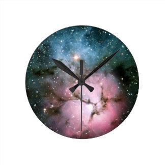 Nebula stars galaxy hipster geek cool nature space round clock