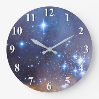 Nebula Stars Galaxy Large Clock