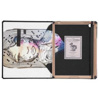 Nebula watercolor and ink girl art iPad folio case