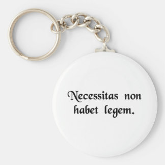 Necessity knows no law. basic round button key ring