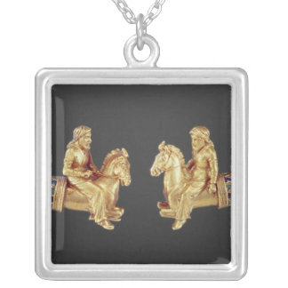 Neck ring in the form of Scythian horsemen Silver Plated Necklace