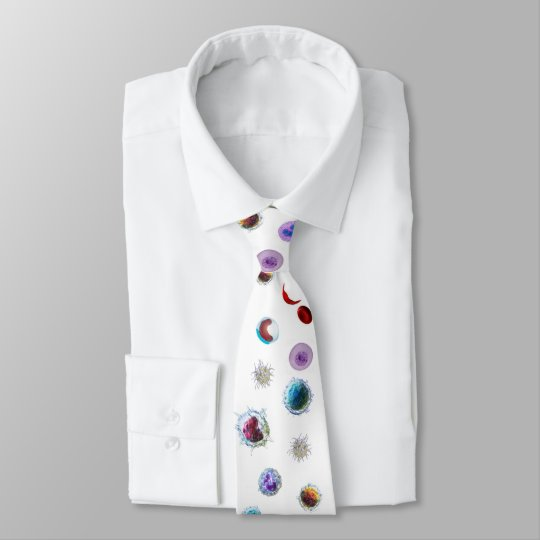 Neck Tie - Blood Cells on White Fabric