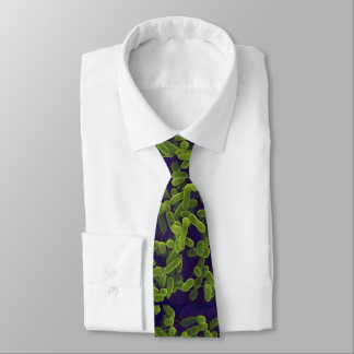 Neck Tie - E. coli (green with navy background)