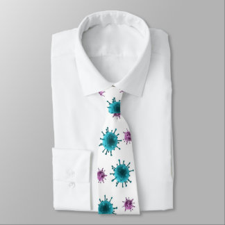 Neck Tie - Flu Virus Images (blue/purple on white)