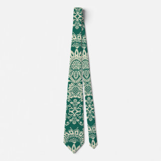Neck Tie Vintage Damask green