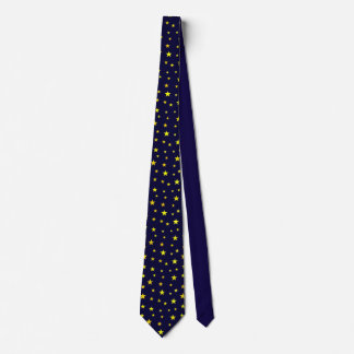 Neck Tie with Yellow Stars on Navy Blue