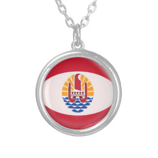 "Necklace + 18"" chain French Polynesia flag"