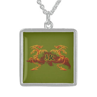 Necklace 2 dragons, fire, Chinese symbol brave