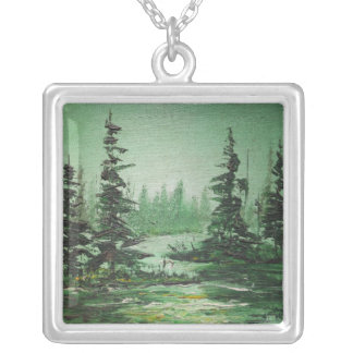 Necklace Ann Hayes Painting Green Forest