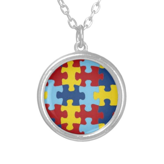 Necklace(Autism Puzzle) Silver Plated Necklace