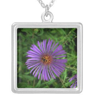Necklace- Blue Cornflower Square Pendant Necklace