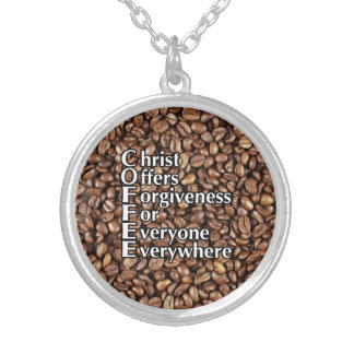 Necklace COFFEE beans Christ Offers Forgiveness Fo