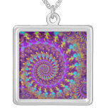 Necklace - Crazy Fractal Purple terquoise yellow