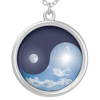 Necklace:  Day and Night Ying Yang Silver Plated Necklace