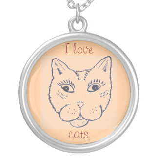 Necklace for a cat lover. Smiling cat.