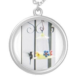Necklace, hummingbirds on veranda