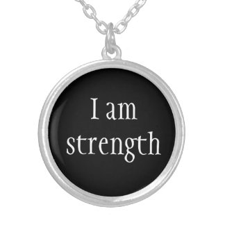 Necklace-I Am Strength Silver Plated Necklace