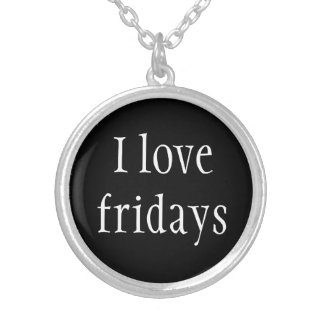 Necklace-I Love Fridays Silver Plated Necklace