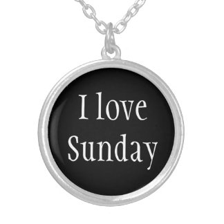 Necklace-I Love Sunday Silver Plated Necklace