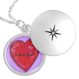 Necklace- I Love You Heart Round Locket Necklace