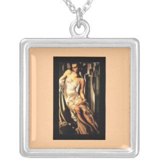 Necklace-Lempicka Portrait of Madame Bott Silver Plated Necklace