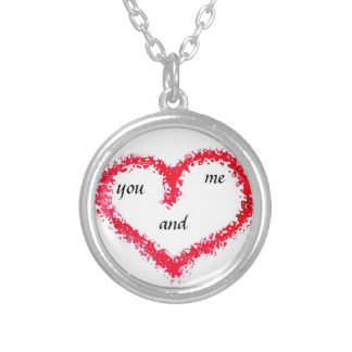 necklace,love, you and me round pendant necklace
